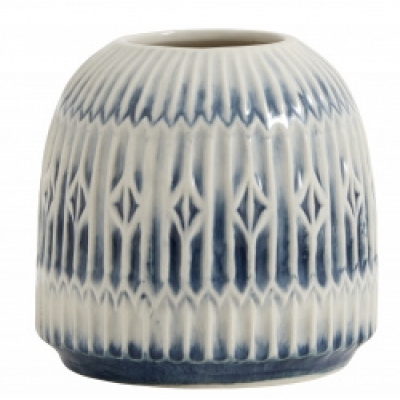 Blue Rill Vase Blautet weiß um Körper m