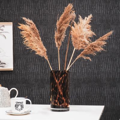 Panther Vase Bernstein / Braun 12x25cm