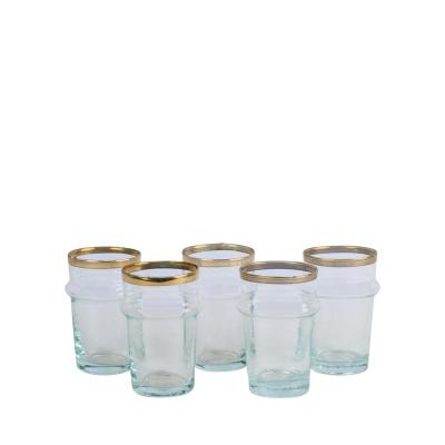 Marokkaans Glas met Gouden Rand M Naturel