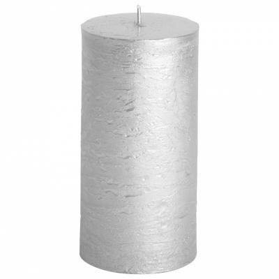 Rustieke kaars ø7x14cm zilver