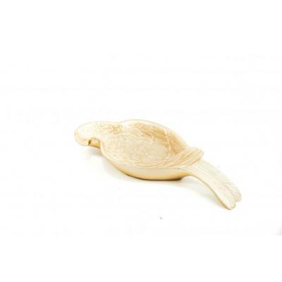 Papegaai Schaaltje Goud-26x10,5x3,5cm