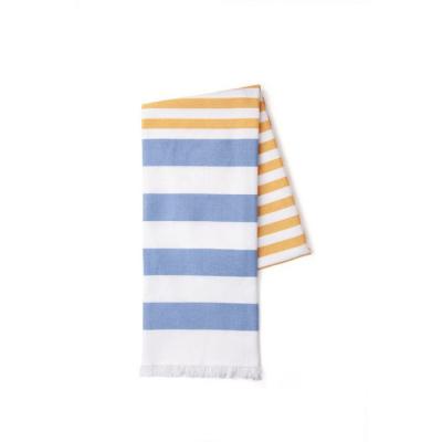 Fouta Beach Basics Okergeel / Jeansblauw - 100x180 cm