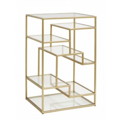 Display mit Glasregalen, golden