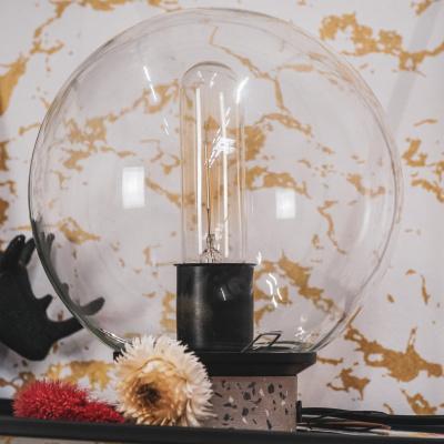 Glaslampe mit Terrazzo Fuß-17x21cm