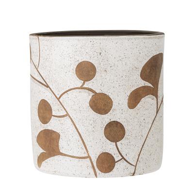 Janis deco bloempot wit terracotta