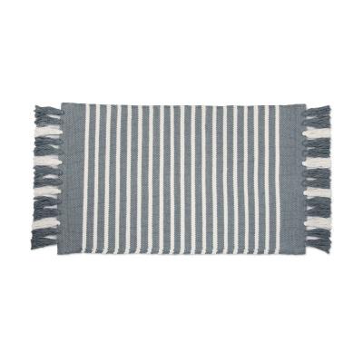 Badmat Stripes & Structure Jeans Blauw / Wit - 60x100 cm