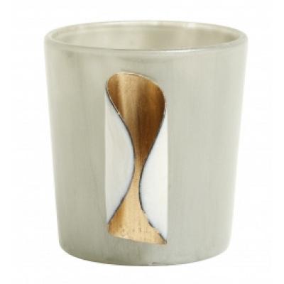 Waxinelichthouder grijs glas met metaal