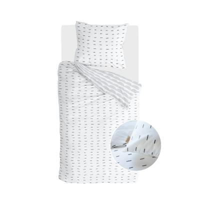 Bettbezug mehr Bindestriche weiß / grau - 155x220 cm