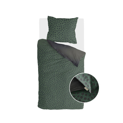 Dekbedovertrek Spots & Dots Donker Groen - 155x220 cm