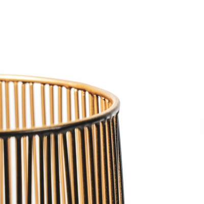 Windlight - Schwarz / Gold - 15x15x25cm