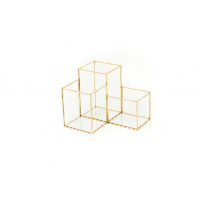 Gouden Pennenbak van glas-16x18x14 cm