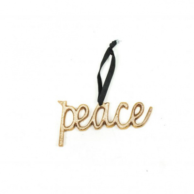 Kersthangers 'PEACE' - Goud -11x5,5cm