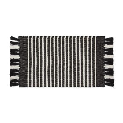Badmat Streifen & Struktur aus schwarz / weiß - 60x100 cm