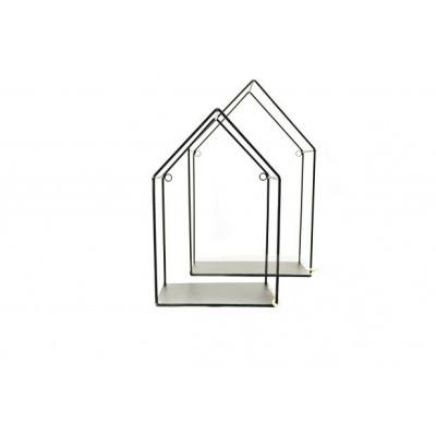 Set van 2 Wandplankjes-Huisjes -Zwart