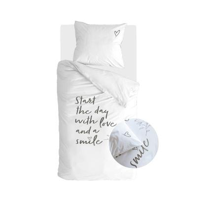 Bettbezug Lächeln mit Liebe weiß - 155x220 cm