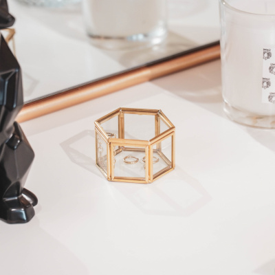 Aufbewahrungsbox Gold Hexagon 6x5.5x3.5cm