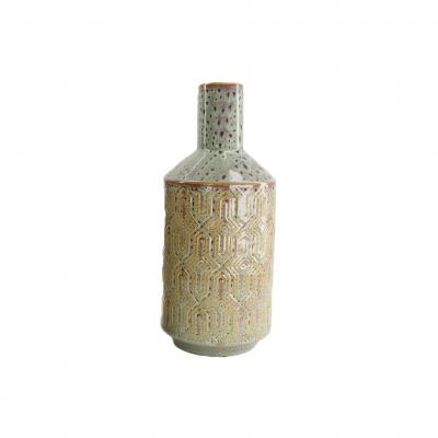 Vase Keramik-Flasche - Druck Grün