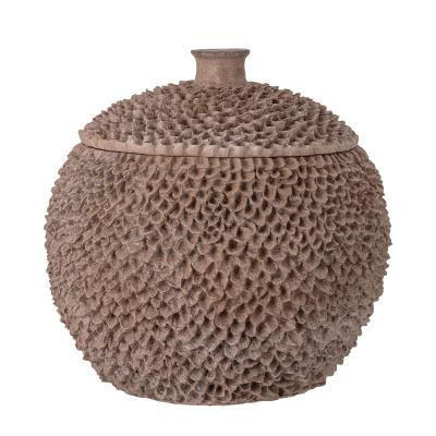 Cassia Bowl met Deksel Bruin Polyresin