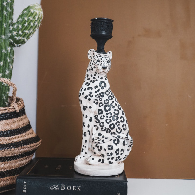Leopard-Kerzenständer-10x25x9 cm