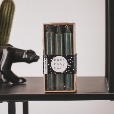 Set van 6 kaarsen-Donker Groen-2,3x14cm