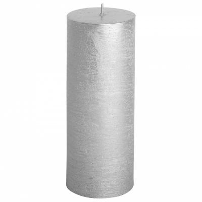 Rustieke kaars ø7x18cm zilver