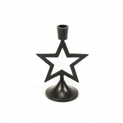 Kandelaar-Ster- Hout- Zwart-13x8x19cm