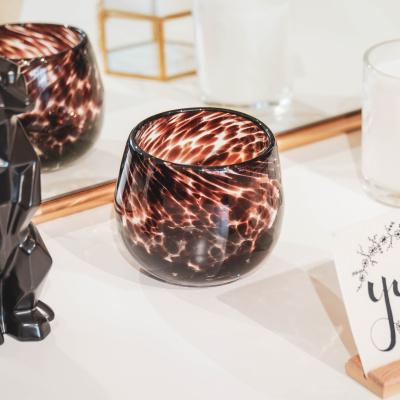 Teelichterhalter klar / braun 11x8.5cm