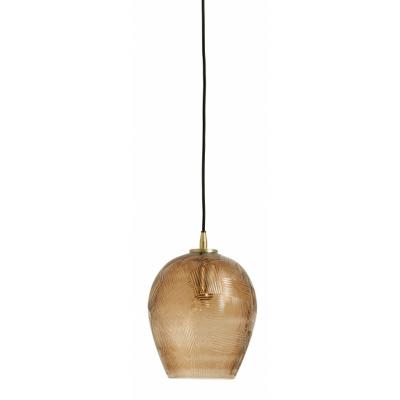 Zigzag Hanglamp, Bruin, Geslepen Glas