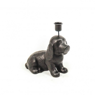 Kandelaar - Zwarte Hond - 18x7x18cm