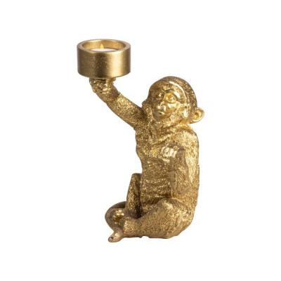 Theelichthouder aap ø9.5x21cm goud