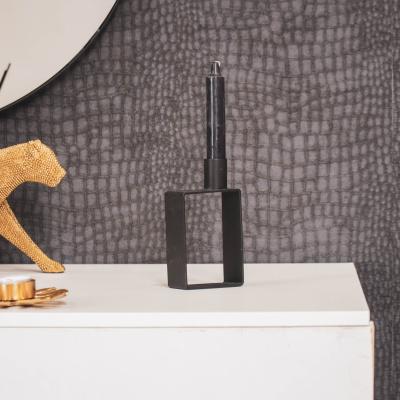 Geometrische Kandelaar-Zwart-7,5x14cm