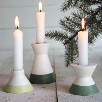 Scandic-Kerzenhalter-7x5cm-keramisch-weiß / grün