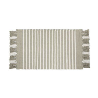 Badmat Stripes & Structure Taupe / Wit - 60x100 cm