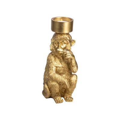 Theelichthouder aap ø15x22.5cm goud