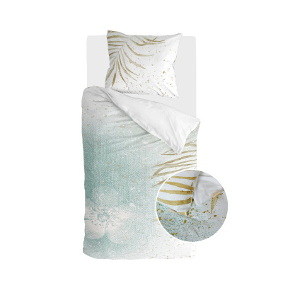 Bettbezug aus lackiertem Naturgrün / Gold - 135x200 cm