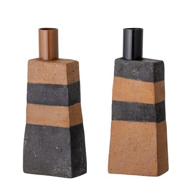 Key Candlestick Black Terracotta