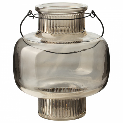 Glaslaterne Ø17x20cm braun