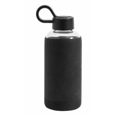 Glazen Fles W. Siliconen Huls, Zwart