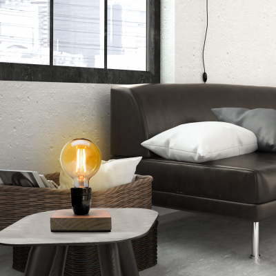 Hölzerne Vintage-Lampe 13x13x22cm