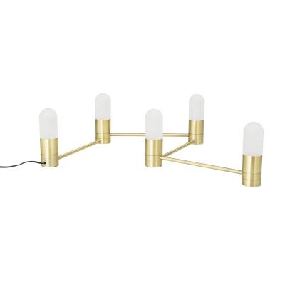 Gebogen tafellamp goud metaal