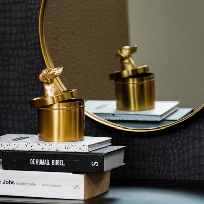 Goldenes Glas Dachshund - mit Lid-Gold 9x9x11cm