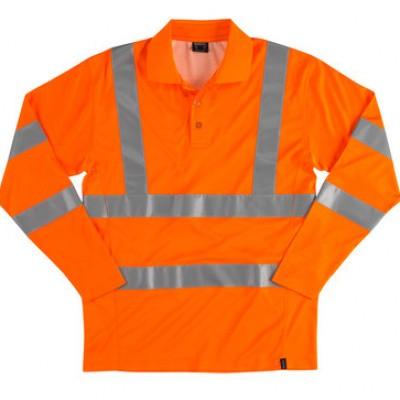 Poloshirt lange mouwen Hi-Vis oranje   18283