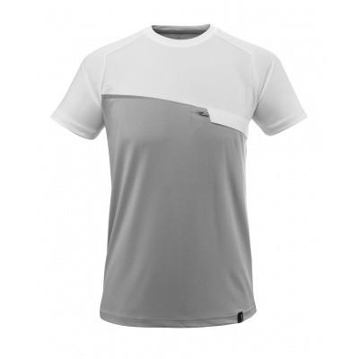 T-shirt met borstzak, vochtafdrijvend | 17782-945 | 0806-grijs-melee/wit
