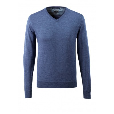 Gebreide trui V-hals, met merinowol | 50635-989 | 041-blauw-melee