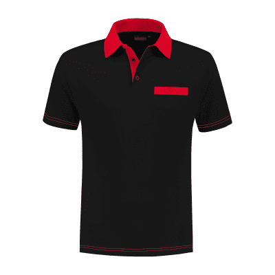Indushirt PS 200 Polo-shirt zwart-rood
