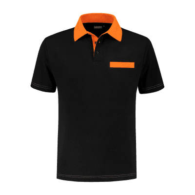 Indushirt PS 200 Polo-shirt zwart-oranje