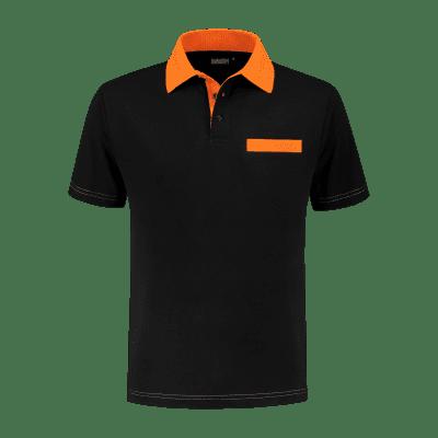 Foto van Indushirt PS 200 Polo-shirt zwart-oranje
