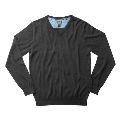 Foto van Knitted Jumper v-neck, with merino wool zwart