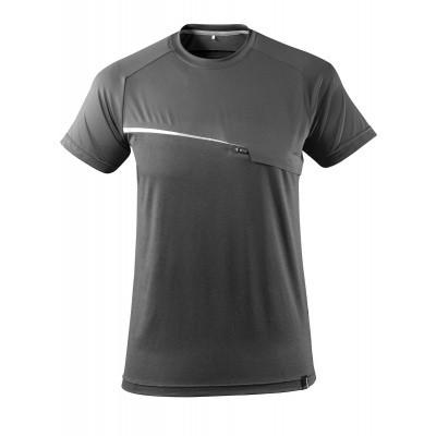 T-shirt met borstzak, vochtafdrijvend | 17782-945 | 018-donkerantraciet