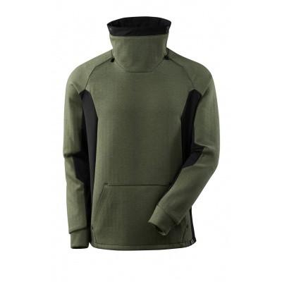 Sweater met hoge verstelbare kraag | 17584-319 | 03309-mosgroen/zwart